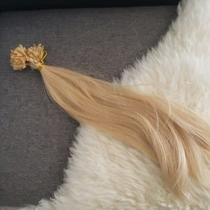 Blonde 613 human hair extensions fusion 18""